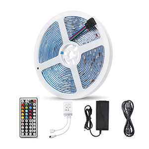LED Light Strip, AMAZING POWER RGB LED Strip Lights with Remote 16.4ft 5M Waterproof Color Change Rope Lights