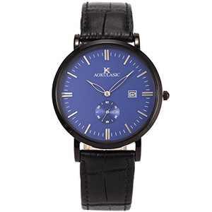 Wrist Watch Men Ultra-Thin Minimalist Mesh Stainless Steel Band SIBOSUN Quartz Analog (7 Black Blue)