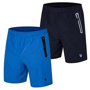 TBMPOY Men's 2 Pack Quick Dry Running Shorts Gym Sport with Zipper Pockets Navy+Blue XL