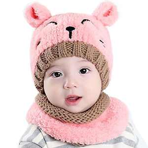 CoKate Baby Hat and Scarf 2pcs Set, Infant Winter Knit Beanie Caps with Scarves (Pink), width: 20cm, height: 18cm
