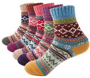 Macochoi Womens Vintage Winter Autumn Spring Warm Wool Ankle Athletic Socks for Women Wool Cashmere Crew Novelty Socks Retro Inspired Knit Thick Christmas Cotton Soft Cozy Fuzzy Socks-A