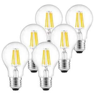 LEDGLE Dimmable LED Edison Bulbs Vintage LED Filament Light Bulbs, 6W 580lm, Warm White 2700K, Equivalent 60W, E26 Base Lamp for Restaurant,Home,Reading Room, 6 Pcs