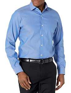 """Amazon Brand - Buttoned Down Men's Tailored Fit Spread Collar Solid Non-Iron Dress Shirt French Blue 16.5"""" Neck 36"""" Sleeve"""