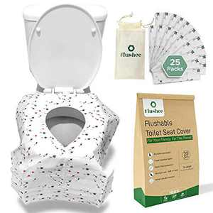 Flushable Toilet Seat Covers Disposable (25 Pack)- Extra Large, Toilet Cover Ideal for Adults & Kids Potty Training - Waterproof, Portable Ideal for Public Restrooms, Travel Essentials Toilet Covers.