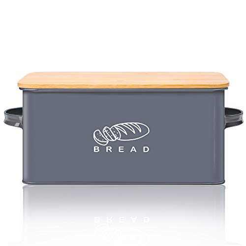 "Bread Box for Kitchen, GA Homefavor Bread Bin, Bread Holder with Bamboo Lid, 11.56""6.7""5.5"", Grey"