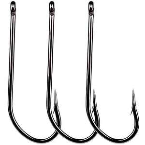 PROBEROS Fishing Hooks Saltwater - High Carbon Steel Octopus Hook Set Super Strong Hooks - Size 6/0# 200pcs Pack Black
