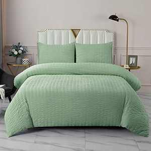 DuShow Green Duvet Cover Queen Solid Seersucker Textured Duvet Cover Set 3 Pieces High Thread Count Duvet Cover and Pillowcases Hotel Quality Soft Comforter Cover Set