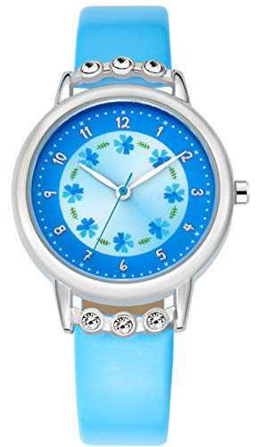 WUTAN Girls Watch Adorable Blue Leather Strap Wrist Band Flowers Dial with Diamond Cute Watch for Girls Casual Waterproof Wristwatches for Kids Reloj para Niños Niñas (Blue)