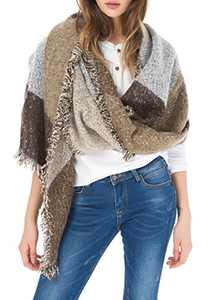 Jusfitsu Women's Fashion Warm Wool Cashmere Bevel Tassels Scarf Wrap Shawl Brown