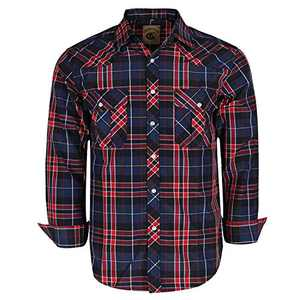 Coevals Club Men's Western Cowboy Long Sleeve Pearl Snap Casual Plaid Work Shirts (Red & Black #12 S)