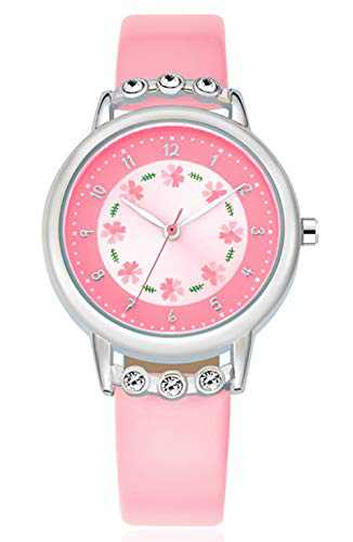 WUTAN Girl Watch Stylish Pink Leather Strap Wrist Band Flowers Dial with Diamond Cute Watch for Girls Casual Waterproof Wristwatches for Kids Reloj para Niños Niñas