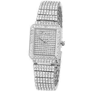 Ladies Watch Luxury Women Watch Crystal Rhinestone Diamond Watches Quartz Stainless Steel Strap Wristwatch Square Dial Wrist Watches for Women Girl(Silver)