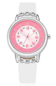 WUTAN Girls Watch Adorable White Leather Strap Wrist Band Flowers Dial with Diamond Cute Watch for Girls Casual Waterproof Wristwatches for Kids Reloj para Niños Niñas