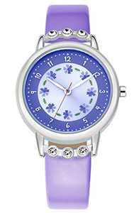 WUTAN Girls Watch Adorable Leather Strap Purple Wrist Band Flowers Dial with Diamond Cute Watch for Girls Casual Waterproof Wristwatches for Kids Reloj para Niños Niñas