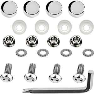 LFParts Stainless Steel Rust Resistant Motorcycle License Plate Frame Security Anti-Theft Machine Type Screws Fasteners (M6x12mm, Chrome Caps)