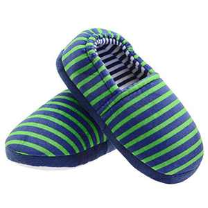 LA PLAGE Boys Slippers Toddler House Shoes Comfort Warm Soft Slip-on Winter Stripe Home Slide Little Kids 3 US Stripe Green