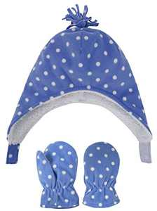 Toddlers' Sherpa Lined Blue Dots Print Hat and Gloves Winter Set, Blue Dots No Thumb, S 6-24 Months