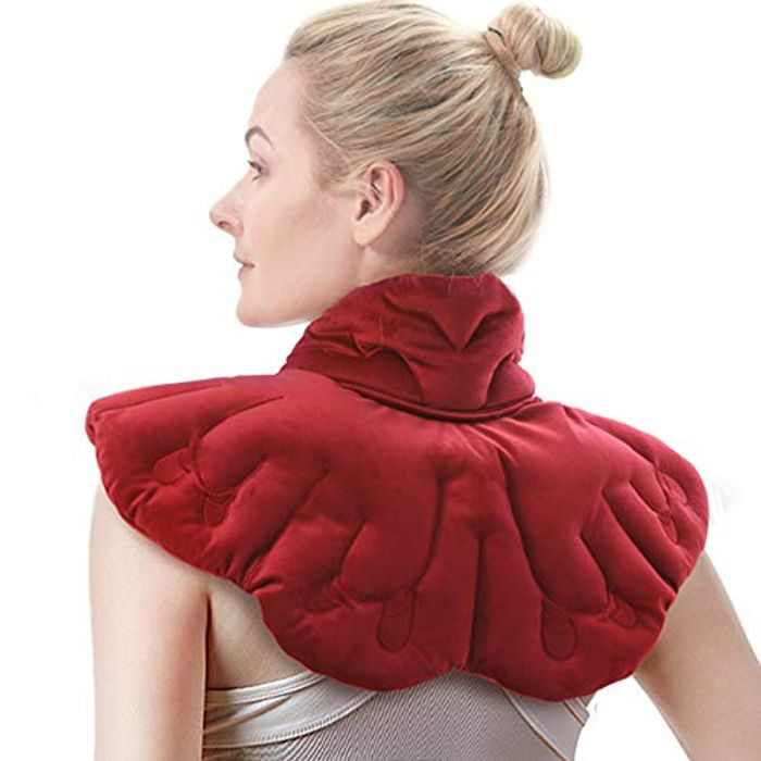 Aroma Season Heated Neck Wrap Microwave Neck Warmer Shoulder Heat Pad Arthritis Relief Filled with Natural Herbs Butterfly (Red)