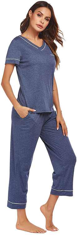 ADOME Womens Pyjama Set V-Neck Short Sleeve Nightshirt Tops & Bottom Loungewear PJ Sets
