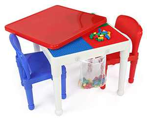 Humble Crew, White/Blue/Red Kids 2-in-1 Plastic Building Blocks-Compatible Activity Table and 2 Chairs Set, Square, Toddler
