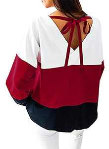 Women's Casual Crew Neck Long Sleeve Shirt Color Block Sweatshirt Blouse Tops (Small, Red)
