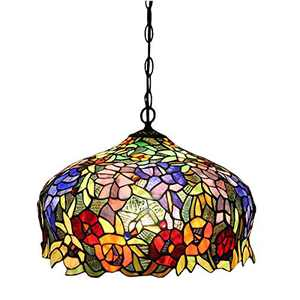"""FUMAT Tiffany Pendant Light Rose Flower Stained Glass Hanglamp 16"""" E26 LED Chandelier Hanging Lights Fixture 110V Ceiling Pendant Lamp"""