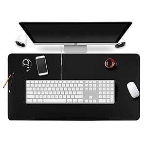 """Gaming Mouse Pad Extended Large Office Desk Pad Ultra-Thin Smooth Writing Mats, Waterproof PU Leather Desktop Blotters Table Protector Cover for Computer/Keyboard/PC Laptop 31""""x15""""x0.05"""" Black"""