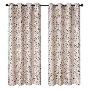 GYROHOME Floral Blackout Curtain with Leaf Embroidery Grommet Top Thermal Insulated Room Darkening Engery Saving Drape Noise Reducing No Formaldehyde,2Panel,52Wx96L-inch,Golden