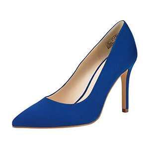 JENN ARDOR Stiletto High Heel Shoes for Women: Pointed, Closed Toe Classic Slip On Dress Pump-Blue 7 B(M) US