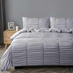 DuShow Gray Seersucker Duvet Cover King Textured Solid Duvet Cover Set,3 Pieces (1 Duvet Cover + 2 Pillowcases) Stripe Soft Comforter Cover Set with Zipper Closure