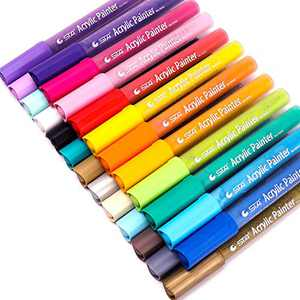Dyvicl Acrylic Paint Pens for Rock Painting, Ceramic, Glass, Wood, Fabric, Canvas, Mug, Pumpkin, DIY Craft Making Supplies, Scrapbooking Craft, Card Making, Acrylic Paint Marker Pen Set of 24 Colors