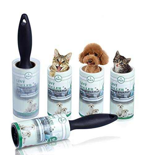 Lint Roller Pet Hair Remover Sticky Hair Roller for Clothes Dog Cat Hair 5 Pack