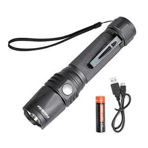 EverBrite Rechargeable LED Flashlight 550 Lumens CREE Bulb, IP68 Waterproof and Dust-free 7 Modes Super Bright for Hiking, 18650 Battery Aluminum Tactical Torch Pocket Clip USB Cable Included