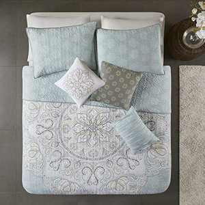 "Madison Park Reversible Cotton Quilt-Luxury Stitching Design All Season, Breathable Coverlet Bedspread Bedding, Shams, Decorative Pillow, Full/Queen(90""x90""), Lucinda, Medallion Seafoam"