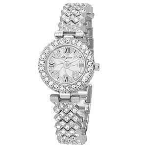 SIBOSUN Lady Women Wrist Watch Quartz Fashion Silver Stainless Steel Band Bracelet Crystal Dress Analog