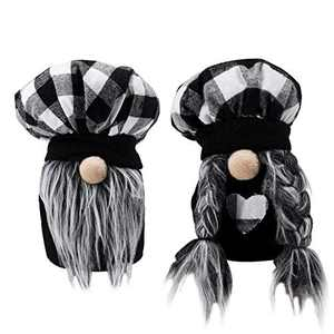 2PCS Plaid Kitchen Chef Mini Gnome, Scandinavian Black White Plaid Cooking Tomte, Couple Plush Nisse Elf Doll for Home Table Display Ornament, Unique Valentine's Day Easter Wedding Gifts