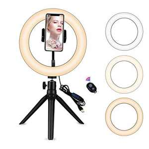 "Yefound 9"" Portable Led Ring Light with Stand &Selfie Ring Light Cell Phone Holder and Remote Control for Live Streaming in YouTube, Facebook, Take Video,Makeup"