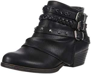 Sugar Women's Truth Triple Buckle Ankle Boot Ladies Side Zipper Bootie with Woven Wraparounds Studs and Overlay Black 8