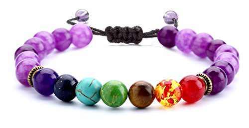 Hamoery 8mm Lava Rock 7 Chakras Beads Bracelet Gifts for Girls Braided Rope Natural Stone Yoga Bracelet Bangle (Amethyst Bead)