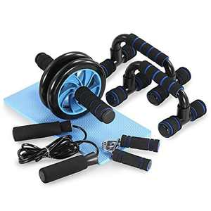 TOM SHOO 5 Pieces Fitness Exercise Set - Hand Gripper Jump Rope AB Roller Push-Up Bar Knee Pad Perfect Daily Home Ab Workout Equipment Set
