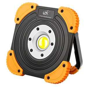 Moobibear BS-FL8W-4AA Portable COB LED Work 10W 1000lm 2 Modes Emergency Light, Battery Powered Cordless Floodlight, Heavy Duty Spotlight for Garage, Camping, Hunting, Fishing