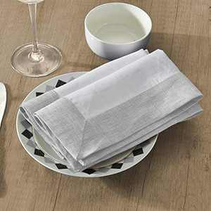 Simple&Opulence 100% Linen Napkins - (Pack of 4) - Premium (Coloured Border) Reusable Washable Durable Daily Use for Dinner/Party/Picnic/Wedding - White+Grey, 18 x 18 inch