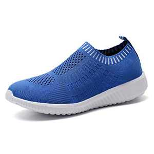 konhill Women's Lightweight Casual Walking Athletic Shoes Breathable Mesh Work Slip-on Sneakers 6 US Blue