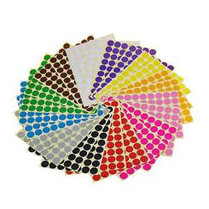 Sticky Color Coding Labels Removable Small Circle Dot Stickers for Classroom Organization Decorations Yard Sale Calendar Planner, 3/4 inch Diameter, 12 Colors, Total 1680 Dots in 24 Sheets