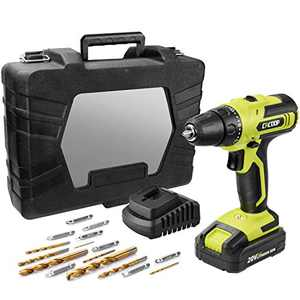 CACOOP 20V MAX Cordless Drill Driver Set,Compact,3/8-Inch,with 2.0Ah Battery&Fast Charger,8 Titanium Plated Drill Bits,8 Nickel-plated screw Bits,Carrying Case(CCD20003L)