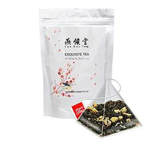 Yan Hou Tang Organic Jasmine Green Tea Bags 50 Counts Flower Flavor Taste Sugar Free Loose Spice Leaf for Detox Weight Loss Relaxation Stress Reduction Relief SGS FDA Verified