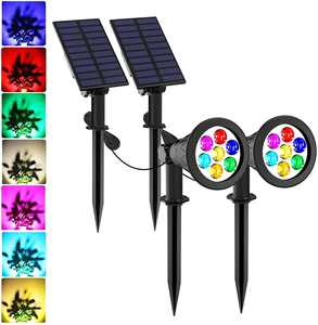 Solar Spotlights, 7 LED Color Changing Solar Lights, NATPOW Separated Light and Solar Panel, Waterproof Outdoor Landscape Light for Patio Porch Path Deck Garden Garage Driveway (2PACK)