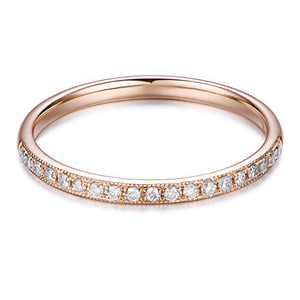 HAFEEZ CENTER 14K Solid Gold Petite Micropave Milgrain Eternity Moissanite Wedding Band (Rose-Gold, 10)