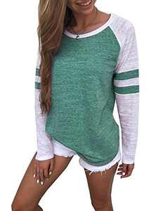 Yidarton Women's Color Block Long Sleeve T Shirt Casual Round Neck Tunic Tops(Green,XL)