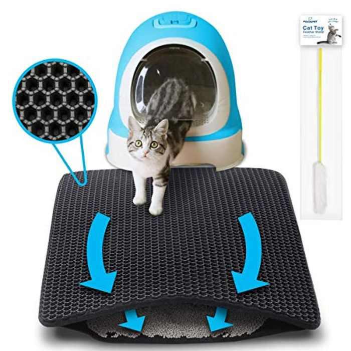 "Focuspet Cat Litter Mat, 29.5"" X 21.65"" Kitty Litter Mat Double-Layer Litter Trapper Mat Large Waterproof Honeycomb Non-Toxic Protect Floor and Carpet Easy Clean Cat Little Tray Pad XL"